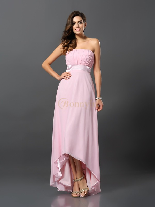 Pink Chiffon Strapless A-Line/Princess Asymmetrical Bridesmaid Dresses