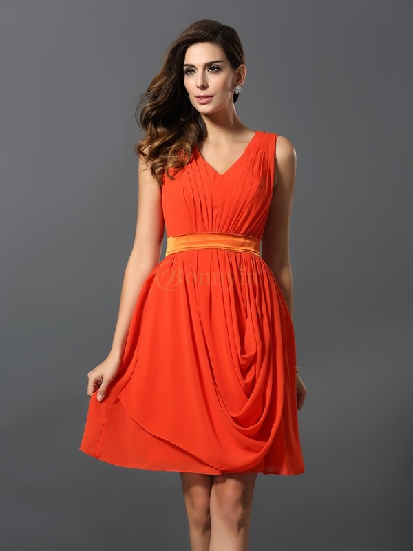 Orange Chiffon V-neck A-Line/Princess Short/Mini Bridesmaid Dresses