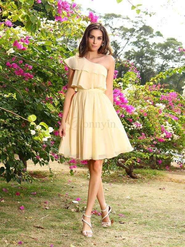 Champagne Chiffon One-Shoulder A-Line/Princess Short/Mini Bridesmaid Dresses