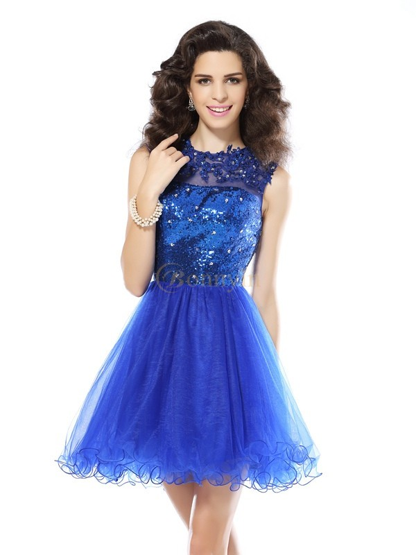 Royal Blue Net Scoop A-Line/Princess Short/Mini Dresses