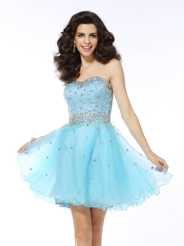 Blue Organza Sweetheart A-Line/Princess Short/Mini Dresses