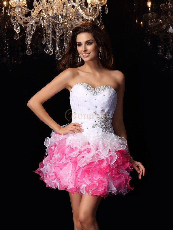 White Organza Sweetheart A-Line/Princess Short/Mini Dresses