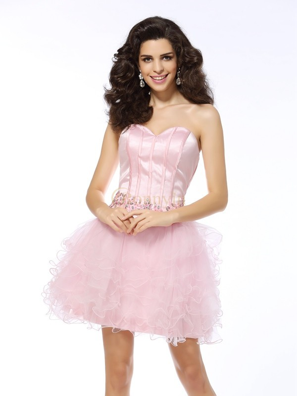 Pink Net Sweetheart A-Line/Princess Short/Mini Dresses