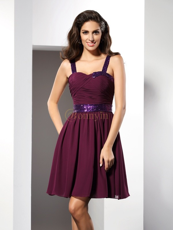 Grape Chiffon Straps A-Line/Princess Short/Mini Dresses