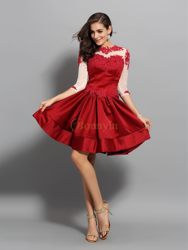 Red Satin High Neck A-Line/Princess Short/Mini Dresses