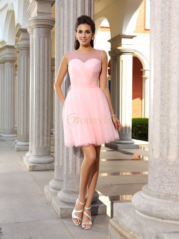 Pink Satin Scoop A-Line/Princess Short/Mini Dresses