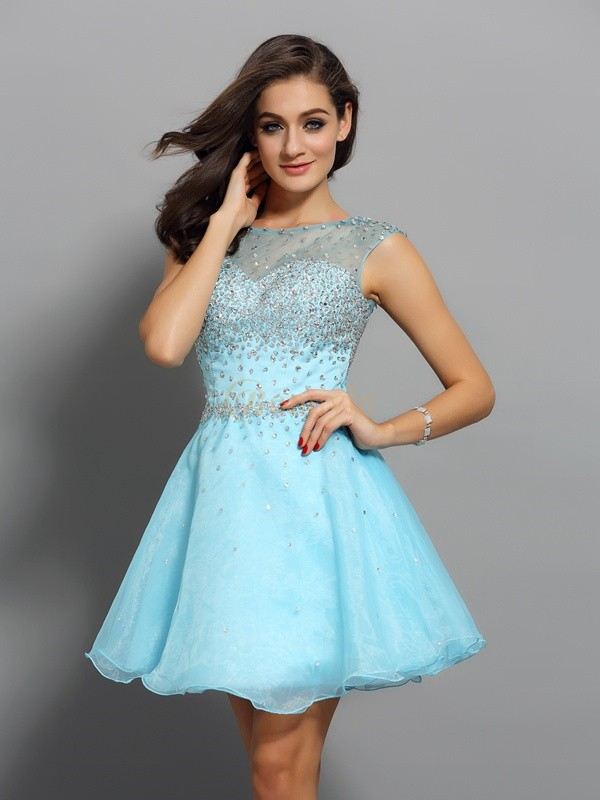 Blue Organza Scoop A-Line/Princess Short/Mini Dresses