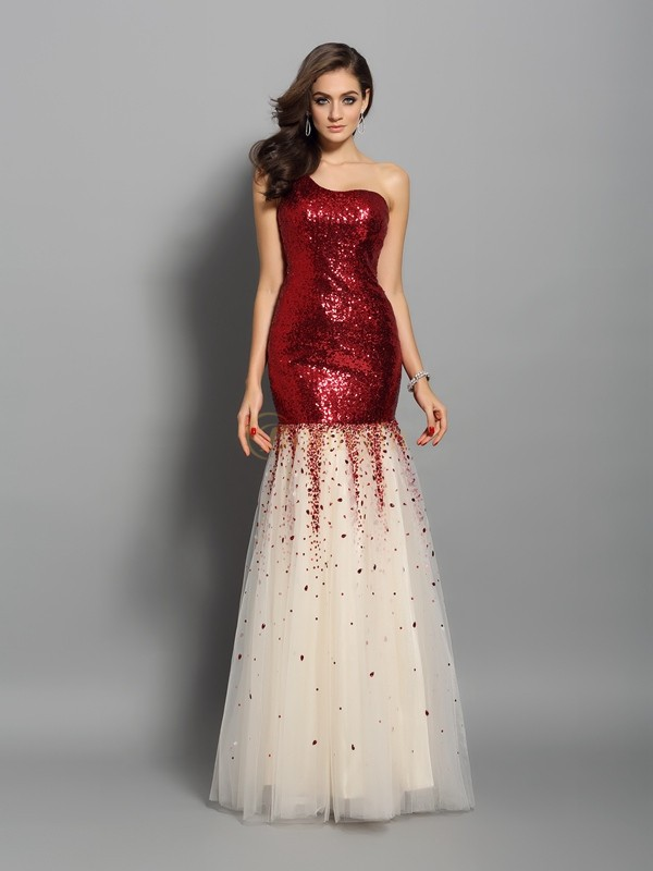 Red Sequins One-Shoulder Trumpet/Mermaid Floor-Length Dresses