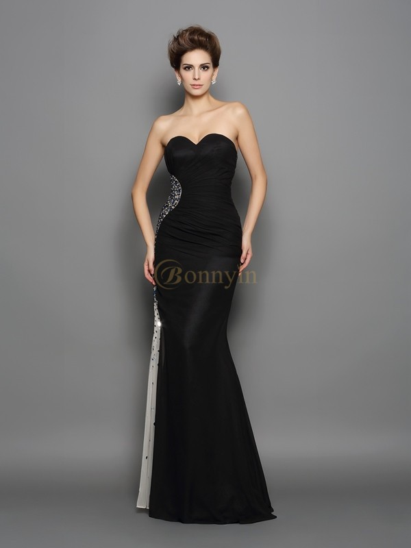 Black Chiffon Sweetheart Trumpet/Mermaid Floor-Length Evening Dresses
