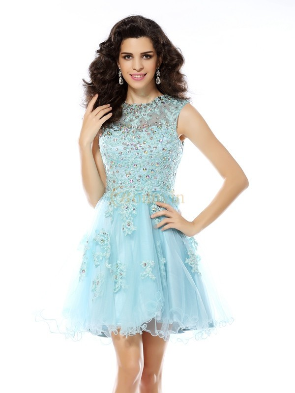 Blue Satin Scoop A-Line/Princess Short/Mini Dresses