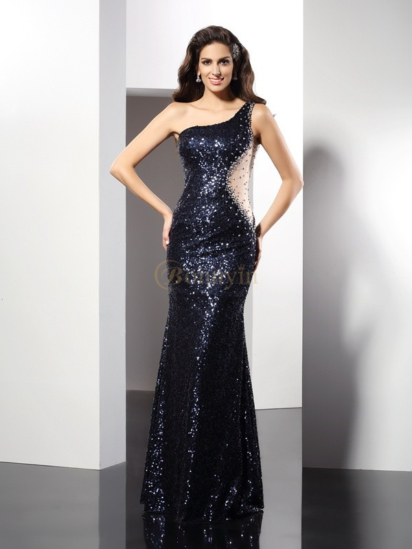 Dark Navy Sequins One-Shoulder Sheath/Column Floor-Length Dresses
