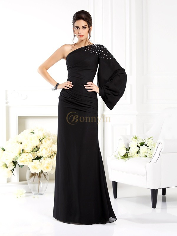 Black Chiffon One-Shoulder Sheath/Column Floor-Length Dresses