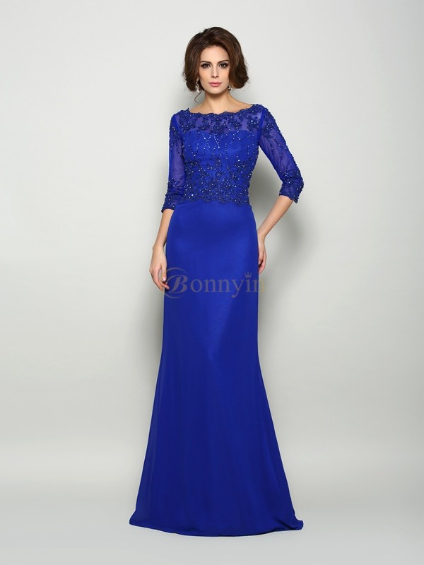 Royal Blue Chiffon Scoop Trumpet/Mermaid Sweep/Brush Train Mother of the Bride Dresses
