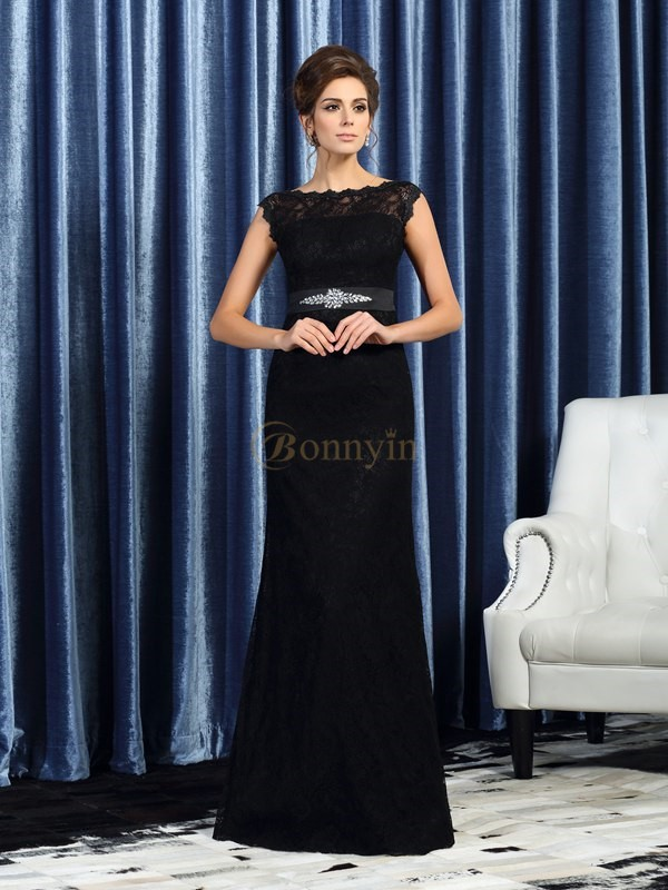 Black Lace Bateau Sheath/Column Floor-Length Mother of the Bride Dresses