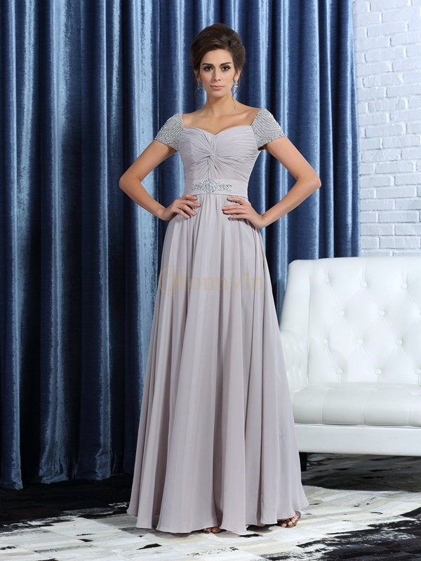 Grey Chiffon Sweetheart A-Line/Princess Ankle-Length Mother of the Bride Dresses