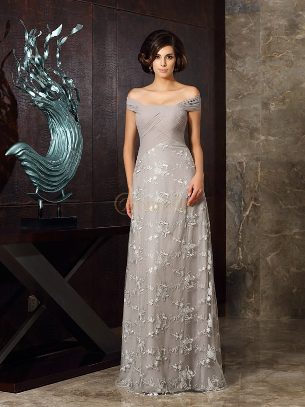 Grey Chiffon Off-the-Shoulder A-Line/Princess Floor-Length Mother of the Bride Dresses