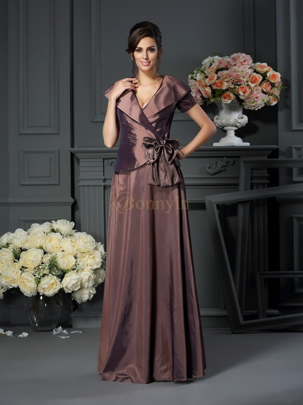 Chocolate Taffeta V-neck A-Line/Princess Floor-Length Mother of the Bride Dresses