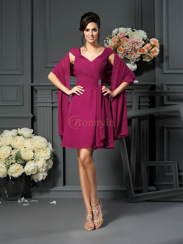 Burgundy Chiffon V-neck A-Line/Princess Knee-Length Mother of the Bride Dresses