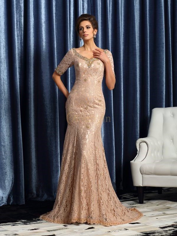 Champagne Elastic Woven Satin V-neck Trumpet/Mermaid Court Train Mother of the Bride Dresses