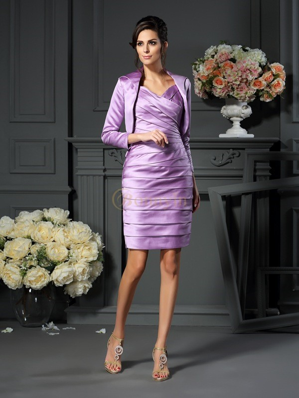 Lavender Satin Straps Sheath/Column Knee-Length Mother of the Bride Dresses