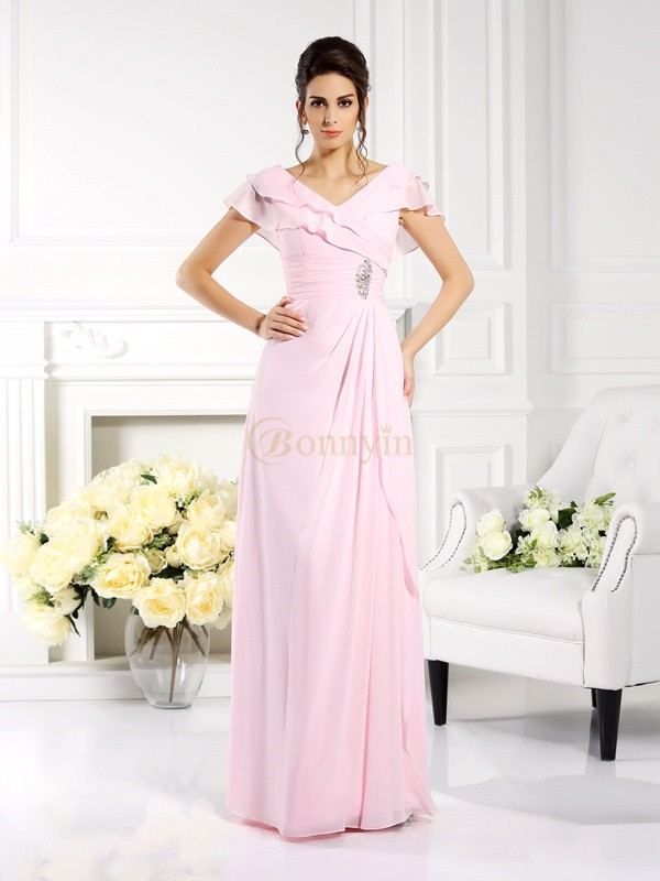 Pink Chiffon V-neck A-Line/Princess Floor-Length Mother of the Bride Dresses