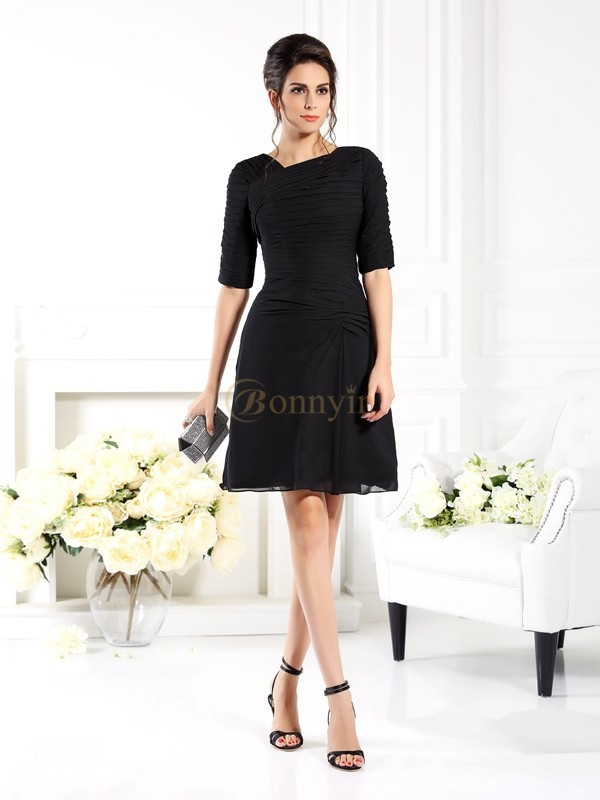 Black Chiffon Sheath/Column Short/Mini Bridesmaid Dresses