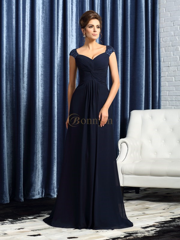 Dark Navy Chiffon Straps A-Line/Princess Sweep/Brush Train Mother of the Bride Dresses