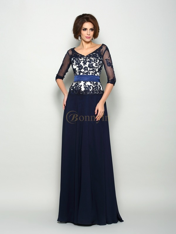 Dark Navy Chiffon V-neck A-Line/Princess Sweep/Brush Train Mother of the Bride Dresses