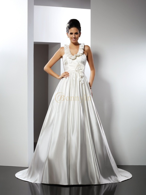 Ivory Satin Halter A-Line/Princess Chapel Train Wedding Dresses