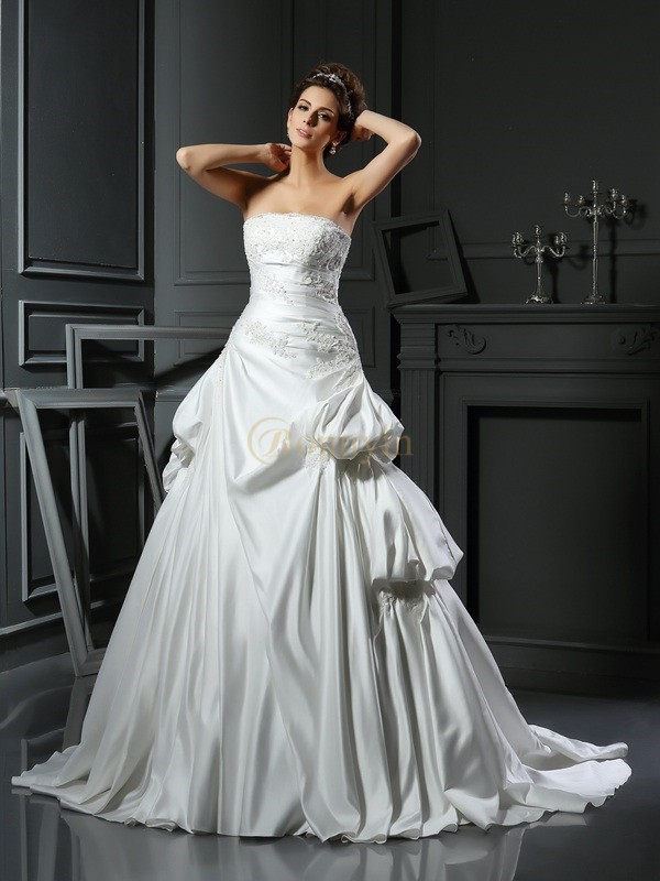 Ivory Satin Strapless Ball Gown Chapel Train Wedding Dresses