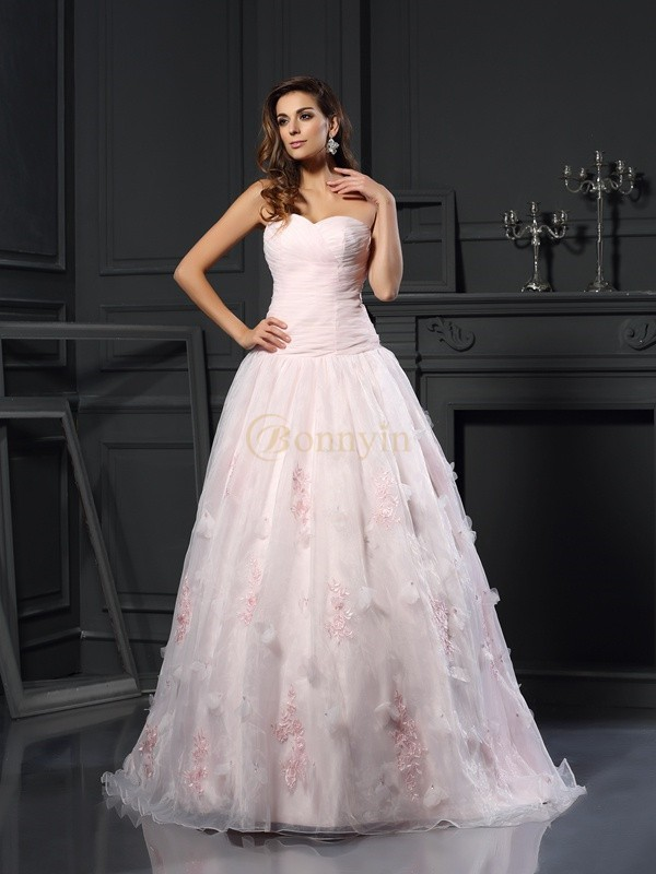 Pink Satin Sweetheart Ball Gown Chapel Train Wedding Dresses
