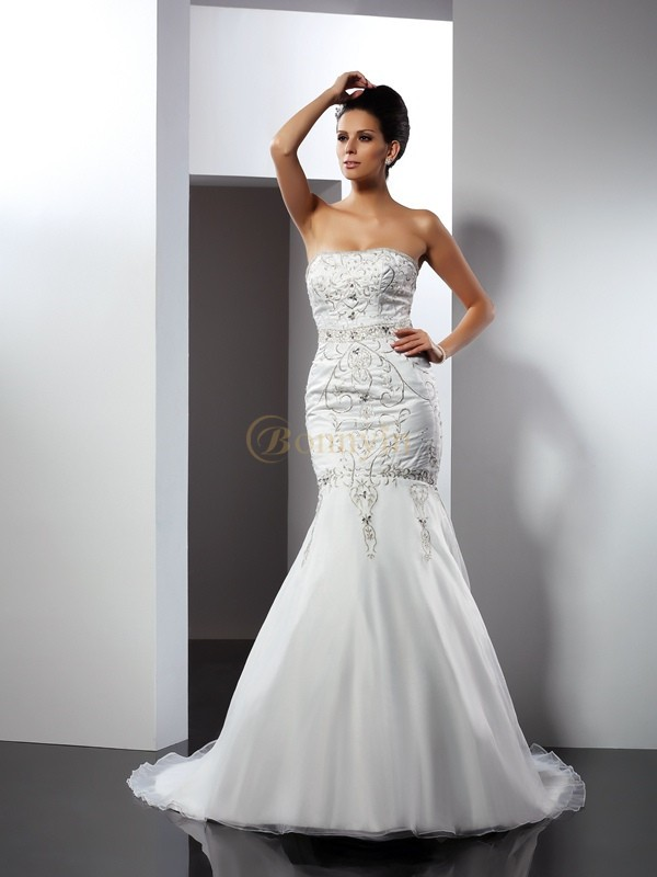 White Satin Strapless Trumpet/Mermaid Chapel Train Wedding Dresses