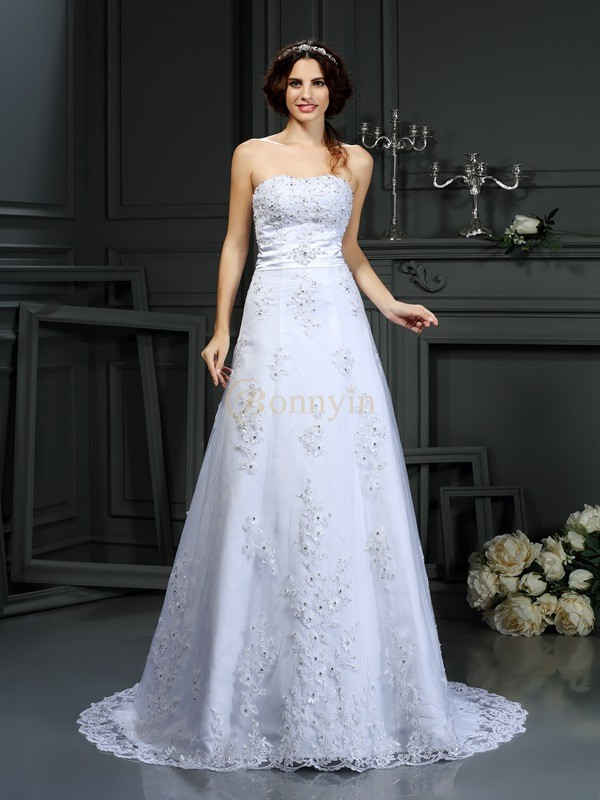 White Satin Strapless A-Line/Princess Court Train Wedding Dresses