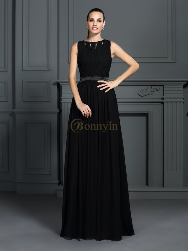Black Chiffon Scoop A-Line/Princess Floor-Length Evening Dresses