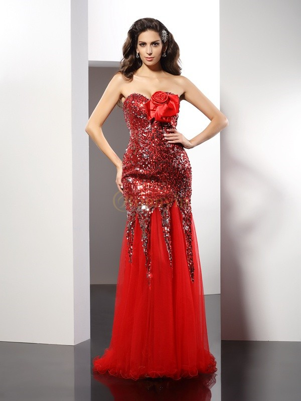 Red Elastic Woven Satin Sweetheart Sheath/Column Floor-Length Dresses