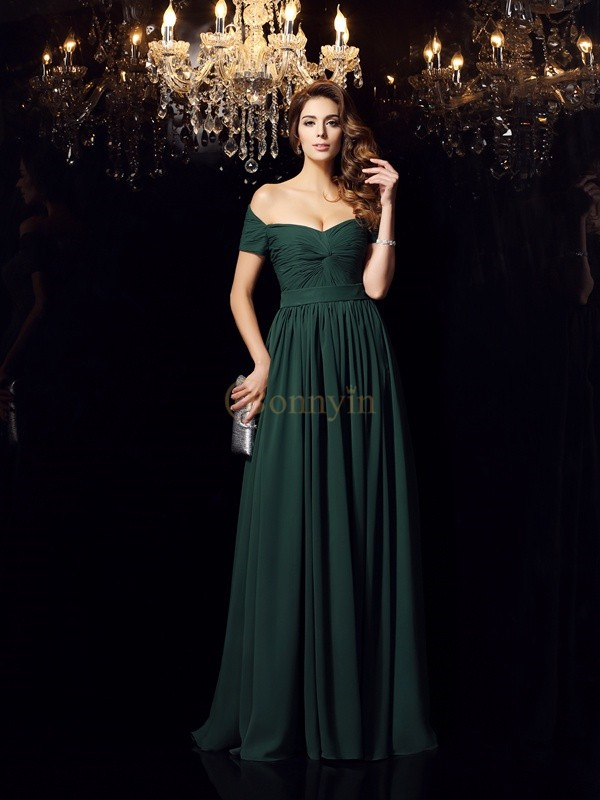 Dark Green Chiffon Off-the-Shoulder A-Line/Princess Floor-Length Dresses