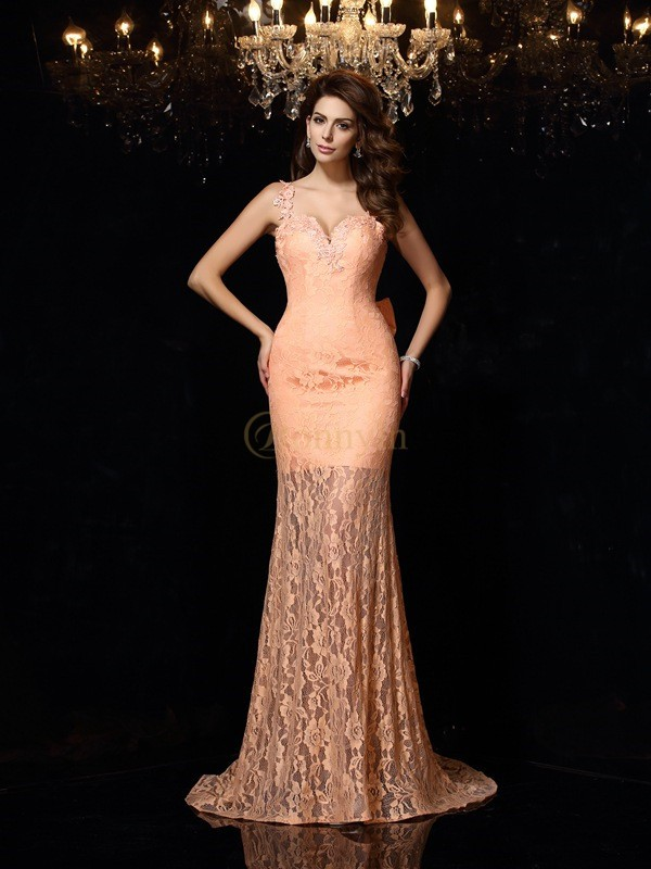 Orange Satin Straps Sheath/Column Court Train Dresses