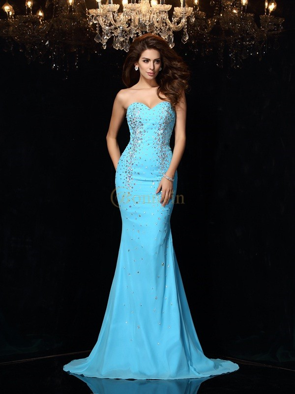 Blue Chiffon Sweetheart Sheath/Column Court Train Dresses