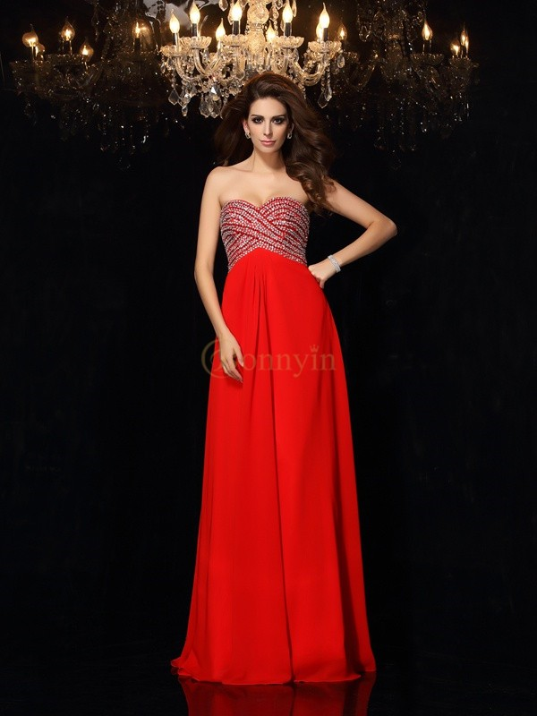 Red Chiffon Sweetheart A-Line/Princess Floor-Length Dresses