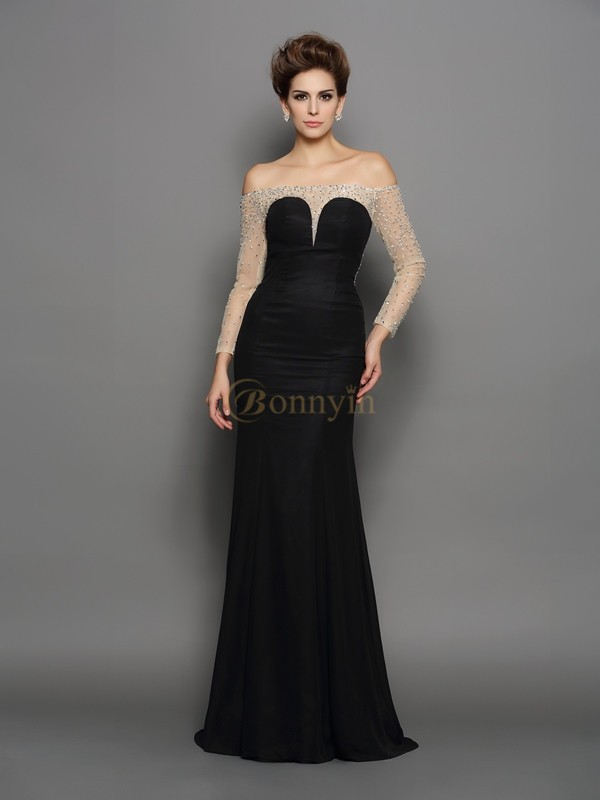 Black Chiffon Off-the-Shoulder Trumpet/Mermaid Sweep/Brush Train Dresses