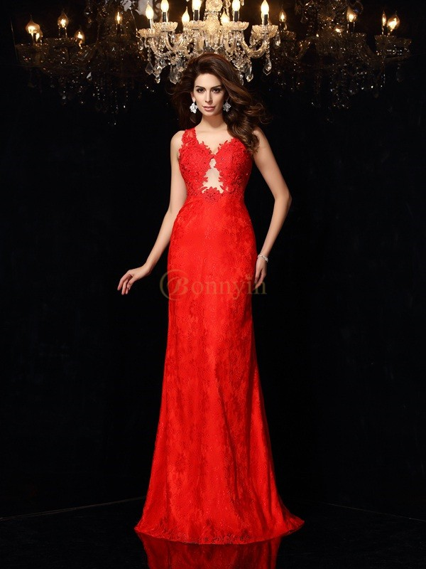 Red Satin V-neck Sheath/Column Sweep/Brush Train Dresses