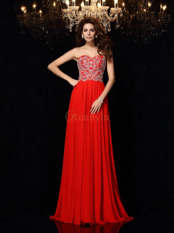 Red Chiffon Sweetheart A-Line/Princess Sweep/Brush Train Dresses