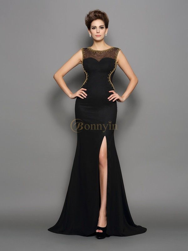 Black Chiffon Scoop Sheath/Column Sweep/Brush Train Dresses