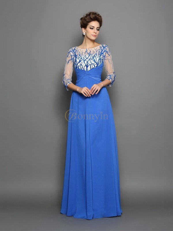Royal Blue Chiffon Scoop A-Line/Princess Floor-Length Dresses
