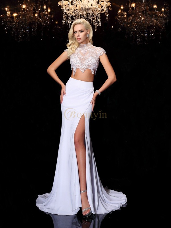 White Chiffon High Neck Sheath/Column Court Train Evening Dresses