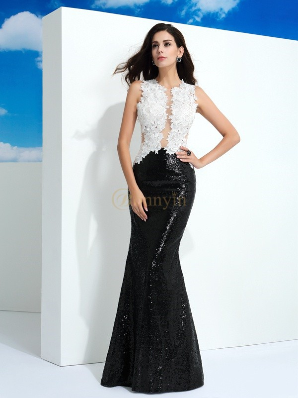 Black Lace Scoop Sheath/Column Floor-Length Evening Dresses