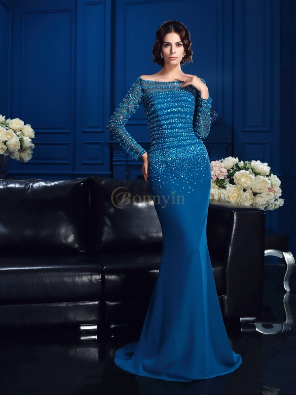 Blue Chiffon Off-the-Shoulder Sheath/Column Sweep/Brush Train Mother of the Bride Dresses