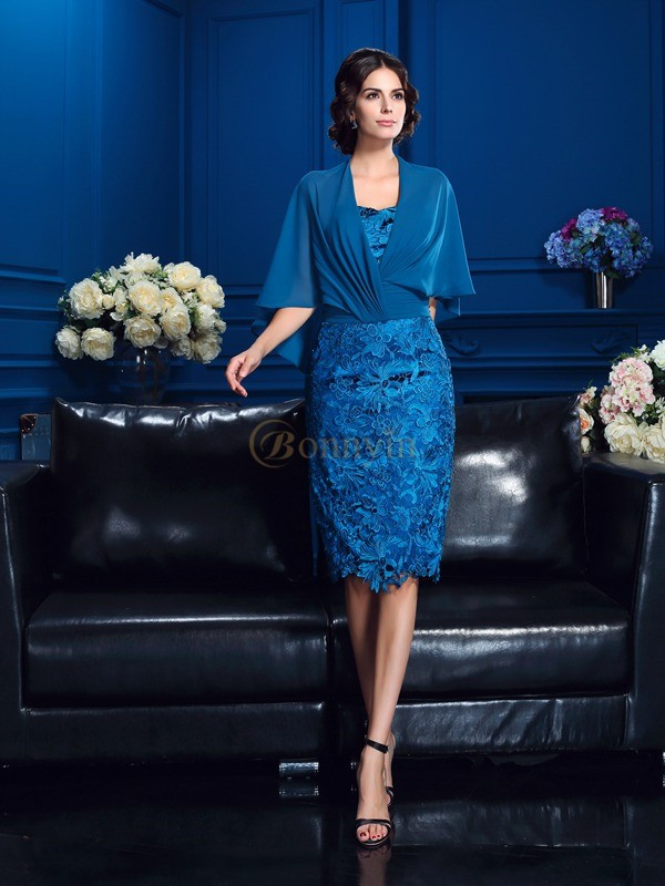 Blue Lace Strapless Sheath/Column Knee-Length Mother of the Bride Dresses
