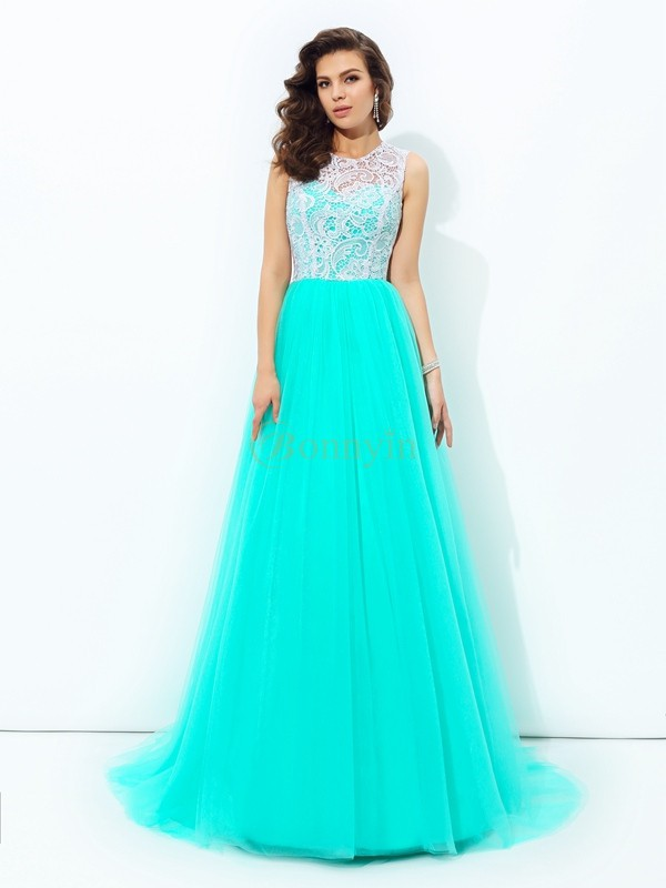 Blue Net Scoop A-line/Princess Sweep/Brush Train Prom Dresses