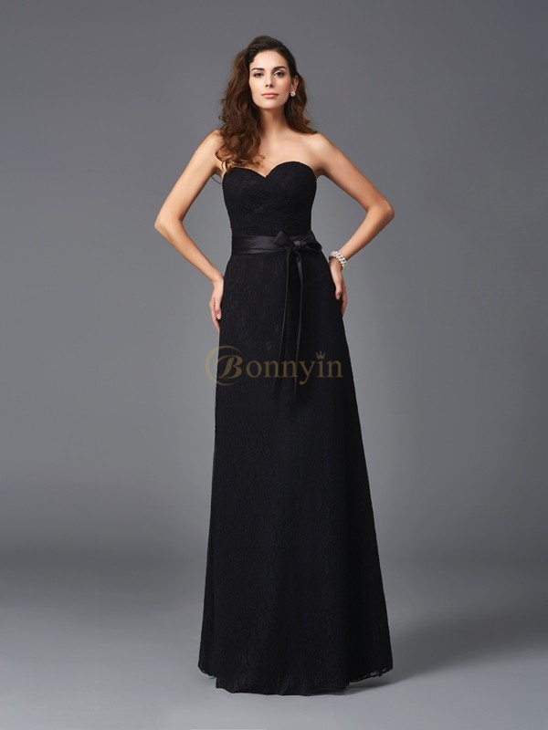 Black Lace Sweetheart A-Line/Princess Floor-Length Bridesmaid Dresses